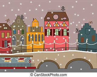 cidade, fada, vetorial, inverno