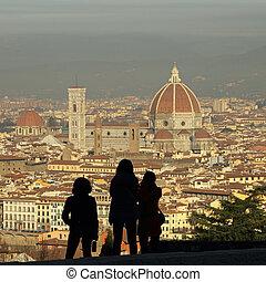 cidade, fantástico, perfis, admirar, florença, turistas,...