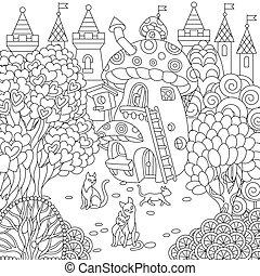 cidade, fantasia, coloração, página