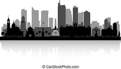 cidade, filipinas, silueta, skyline, manila