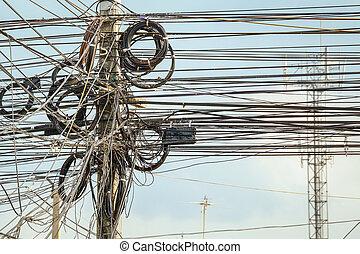 cidade, fio, lote, electricidade, conceito, polaco, segurança, fundo, sujo, cabos