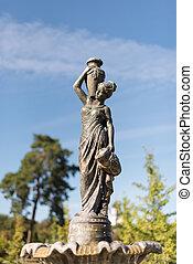 cidade fonte, mulher, jarro, parque