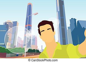 cidade, foto, levando, modernos, homem, selfie, vista