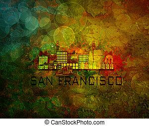 cidade, francisco, grunge, san, ilustração, skyline, fundo