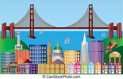 cidade, francisco, san, panorama, ilustração, skyline
