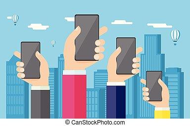 cidade, fundo, contra, telefones, mãos