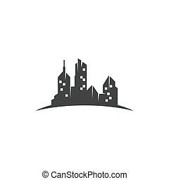 cidade, fundo, vetorial, skyline