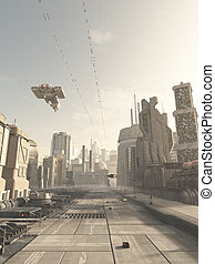 cidade, futuro, rua, nave espacial