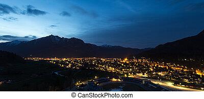 cidade, garmisch, bavaria, noite, histórico, alemanha, partenkirchen