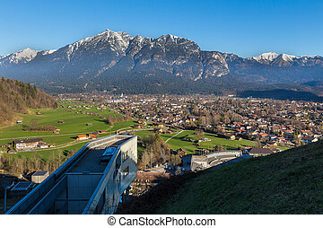 cidade, garmisch, bavaria, primavera, histórico, alemanha, partenkirchen, acima