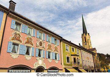 cidade, garmisch, bavaria, primavera, histórico, alemanha, partenkirchen