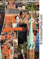 cidade,  Gdansk, antigas, acima