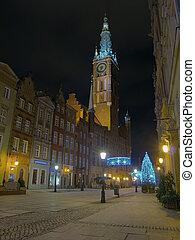 cidade, gdansk, corredor, noturna