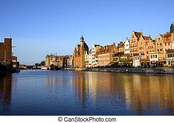 cidade, gdansk, motlawa, rio, antigas