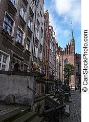 cidade,  Gdansk, Polônia, antigas