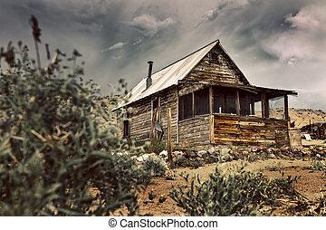 cidade ghost, nevada, antigas, cor, vindima, imagem, tone., desert., tem, cabana