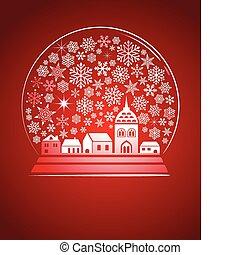 cidade, globo, snowflakes, neve
