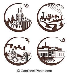 cidade, gráfico, ilustração