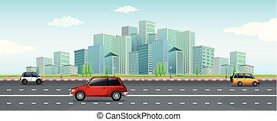 cidade, grande, dirigindo, car