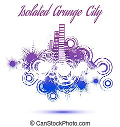 cidade, grunge, isolado