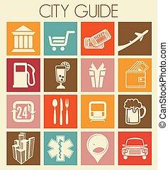cidade, guia, ícones