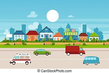cidade, homes., pequeno, suburbano, privado, subúrbio