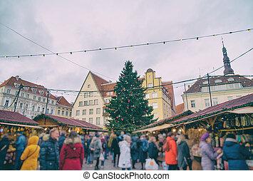 cidade honestamente, árvore, natal, tallinn., corredor