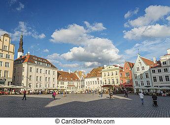 cidade honestamente, antigas, estónia, histórico, tallinn, principal