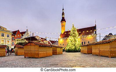 cidade honestamente, estonia., corredor, tallinn., natal