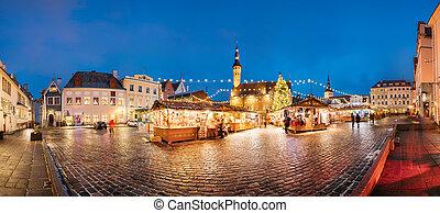 cidade honestamente, estonia., corredor, tallinn, natal, mercado