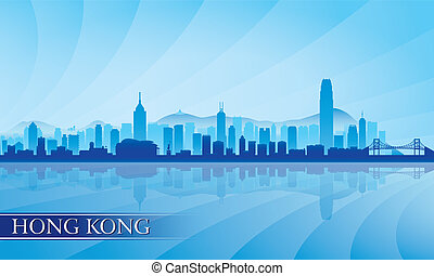 cidade, hong, silueta, kong, skyline, fundo