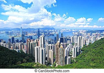 cidade, hong, skyline, pico, kong