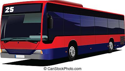 cidade, illustr, vetorial, bus., coach., vermelho