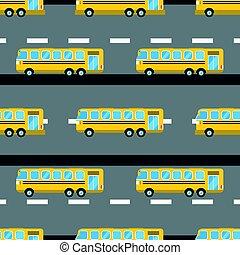 cidade, illustration., autocarro, seamless, vetorial, padrão