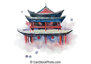 cidade, illustration., xian, parede, watercolour, china,...