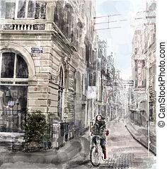cidade, ilustração, bicycle., aquarela, rua., montando,...