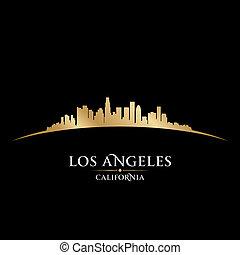 cidade, ilustração, silhouette., angeles, los, skyline,...