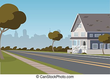 cidade, ilustração, vetorial, ao longo, habitado, estrada