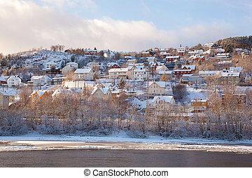 cidade, inverno, casas, trondheim, noruega, vista