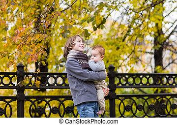 cidade, irmã, parque, irmão, andar, outono, bebê