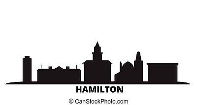 cidade, isolado, pretas, viagem, skyline, canadá, hamilton, illustration., cityscape, vetorial
