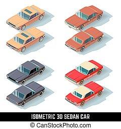 cidade, isometric, ícones, vetorial, car, sedan, transporte, 3d
