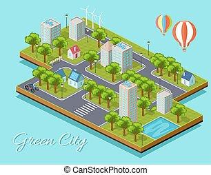cidade, isometric, conceito, verde, isolado