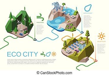 cidade, isometric, eco, energia, ilustração, vetorial