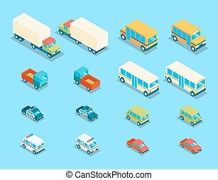 cidade, isometric, jogo, ícones, vetorial, transporte, 3d