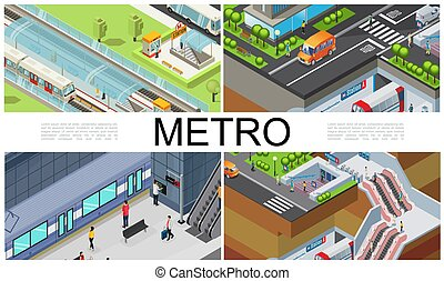 cidade, isometric, metrô, composição