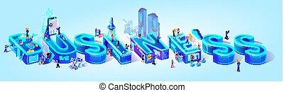 cidade, isometric, palavra, projeção, business., esperto