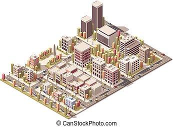 cidade, isometric, vetorial