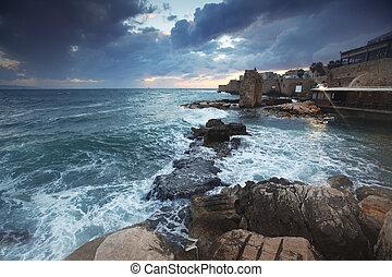 cidade, israel, mediterrâneo, ocidental, acre, galilee,...