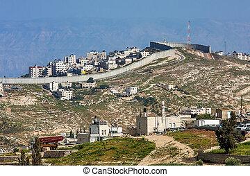 cidade, israel., palestino, parede, atrás de, separação